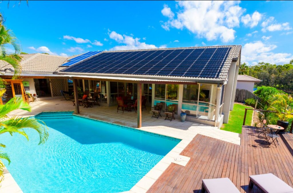 house with solar and pool